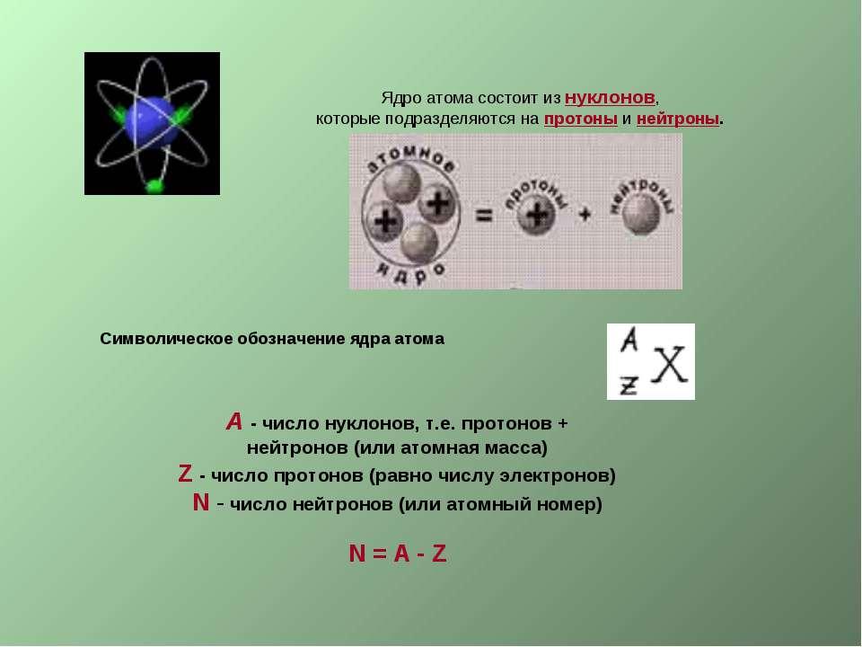 Ядро атома состоит из нуклонов, которые подразделяются на протоны и нейтроны....
