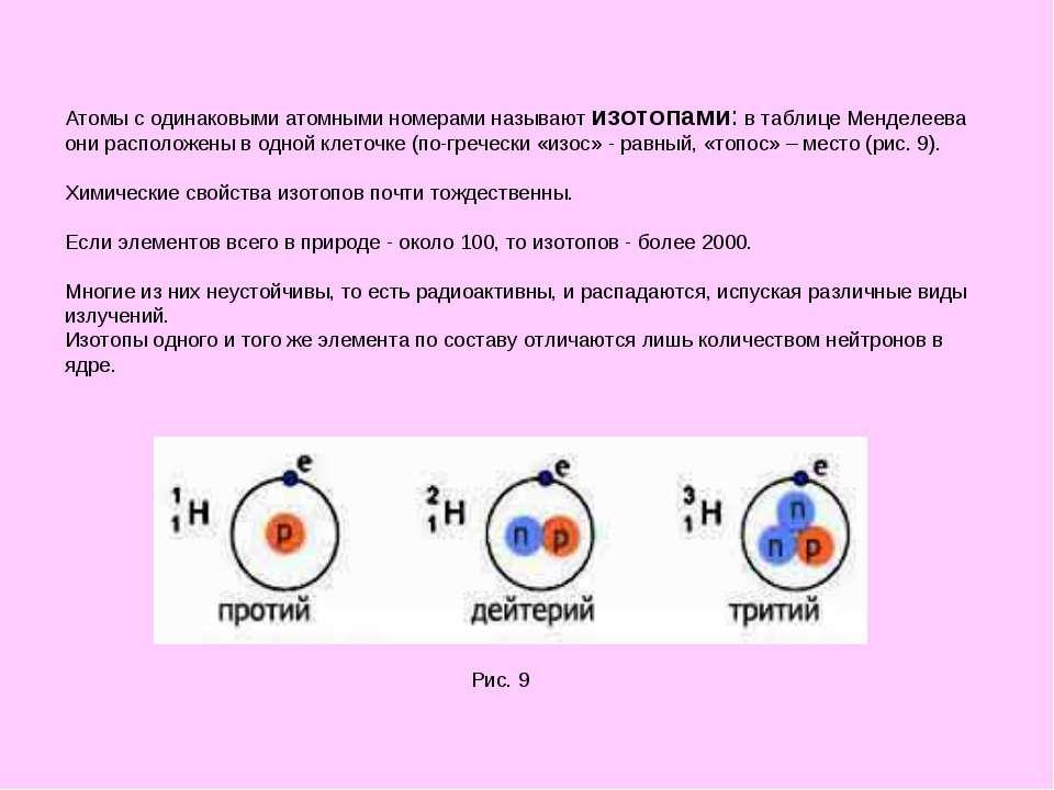 Атомы с одинаковыми атомными номерами называют изотопами: в таблице Менделеев...