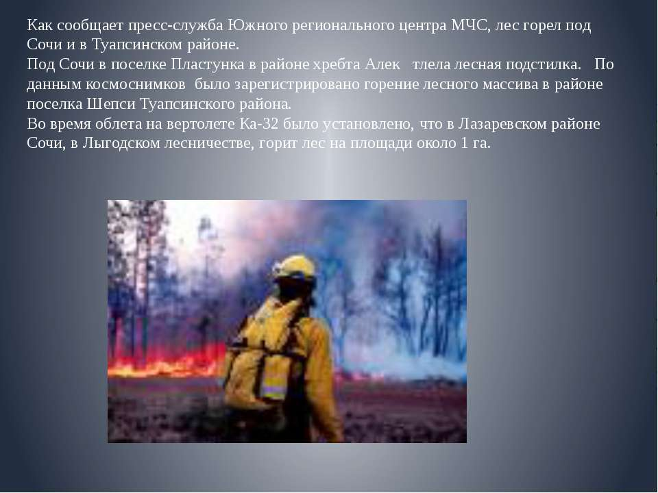 Как сообщает пресс-служба Южного регионального центра МЧС, лес горел под Сочи...