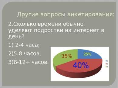 Другие вопросы анкетирования: 2.Сколько времени обычно уделяют подростки на и...