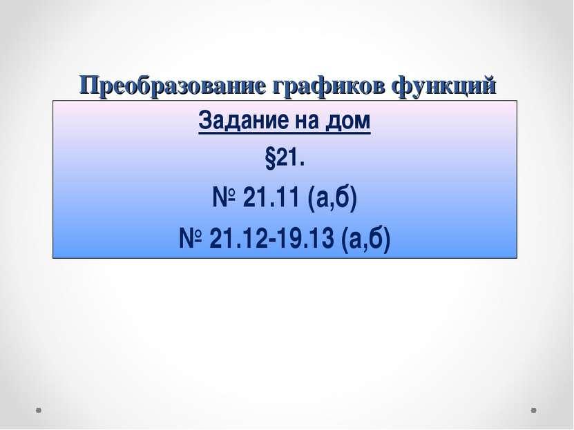 Преобразование графиков функций Задание на дом §21. № 21.11 (а,б) № 21.12-19....