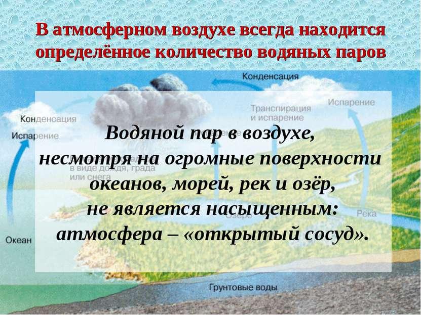 * В атмосферном воздухе всегда находится определённое количество водяных паро...