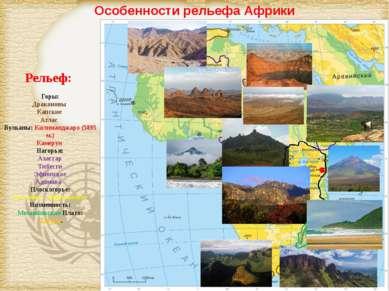 Особенности рельефа Африки Рельеф: Горы: Драконовы Капские Атлас Вулканы: Кил...