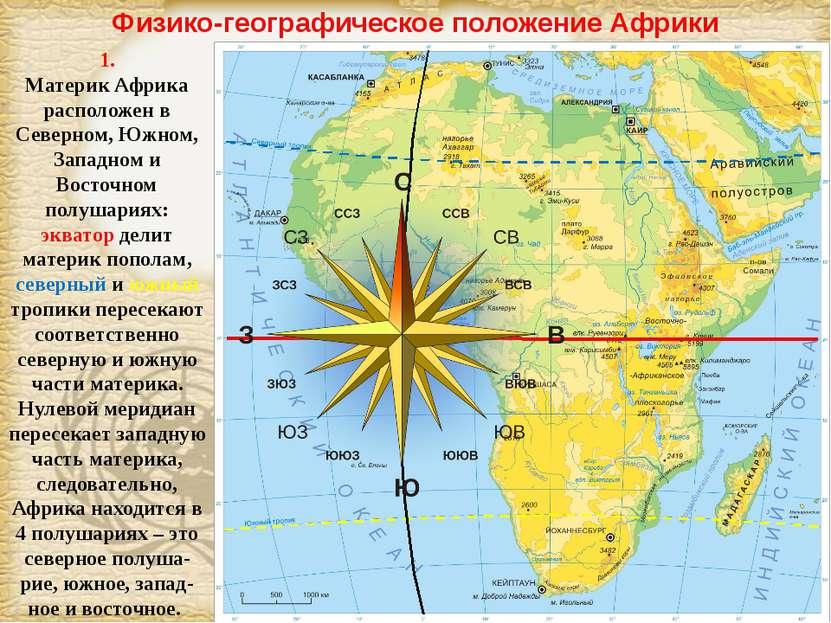 Физико-географическое положение Африки 1. Материк Африка расположен в Северно...