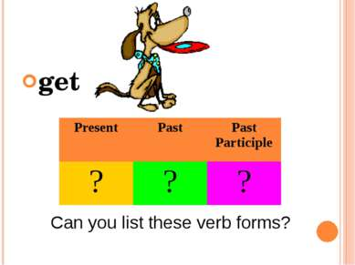 get Can you list these verb forms? Present Past Past Participle ? ? ?