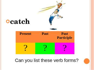 catch Can you list these verb forms? Present Past Past Participle ? ? ?