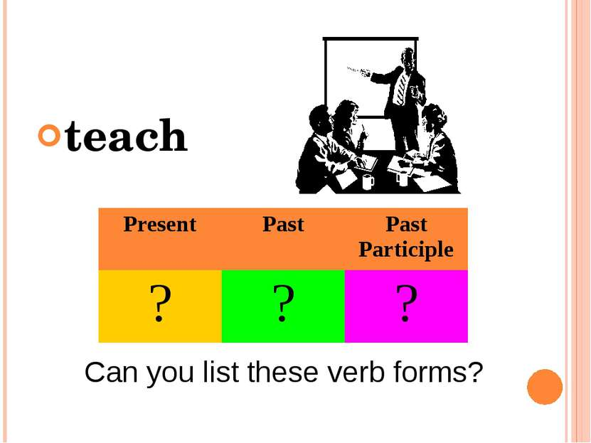 teach Can you list these verb forms? Present Past Past Participle ? ? ?
