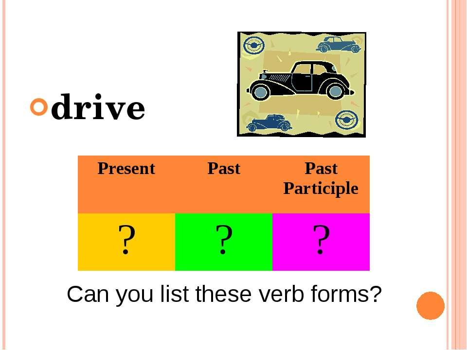 drive Can you list these verb forms? Present Past Past Participle ? ? ?
