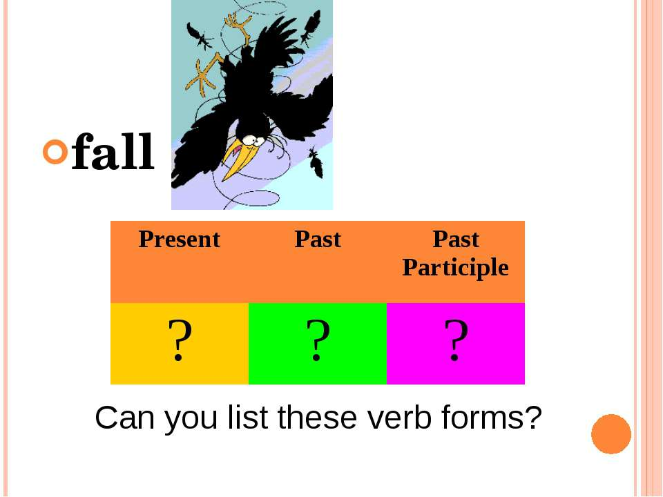 fall Can you list these verb forms? Present Past Past Participle ? ? ?