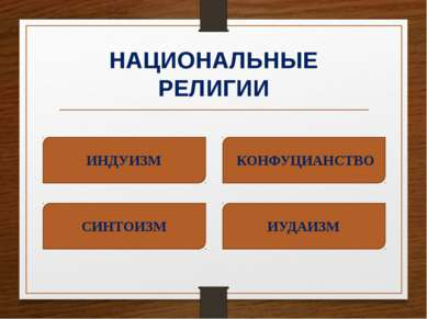 НАЦИОНАЛЬНЫЕ РЕЛИГИИ ИНДУИЗМ ИУДАИЗМ СИНТОИЗМ КОНФУЦИАНСТВО