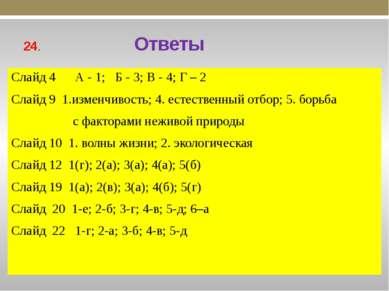 24. Ответы Слайд 4 А - 1; Б - 3; В - 4; Г – 2 Слайд 9 1.изменчивость; 4. есте...