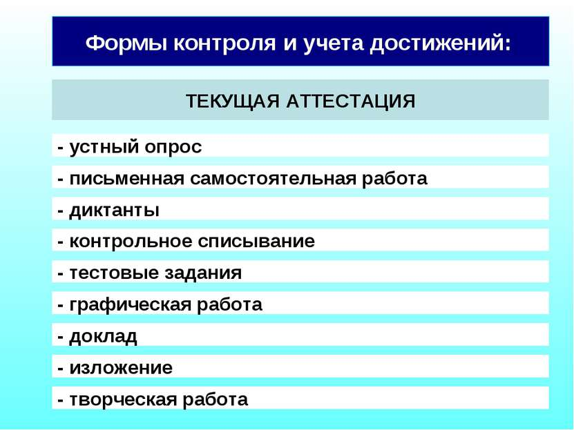 Формы контроля и учета достижений: ТЕКУЩАЯ АТТЕСТАЦИЯ - устный опрос - письме...