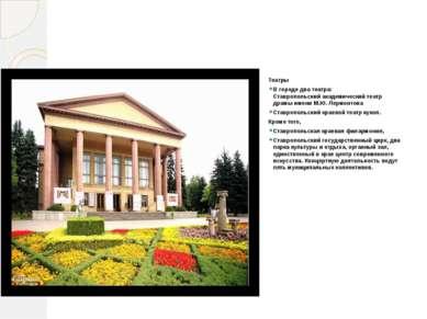 Культурные заведения Театры В городедва театра: Ставропольский академически...