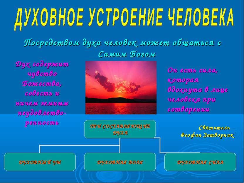 Посредством духа человек может общаться с Самим Богом Дух содержит чувство Бо...