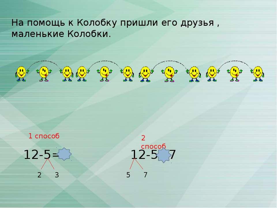 На помощь к Колобку пришли его друзья , маленькие Колобки. 12-5=7 2 3 12-5=7 ...