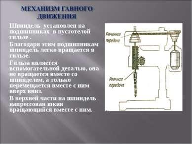 Шпиндель установлен на подшипниках в пустотелой гильзе . Благодаря этим подши...