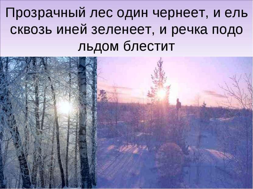 Прозрачный лес один чернеет, и ель сквозь иней зеленеет, и речка подо льдом б...