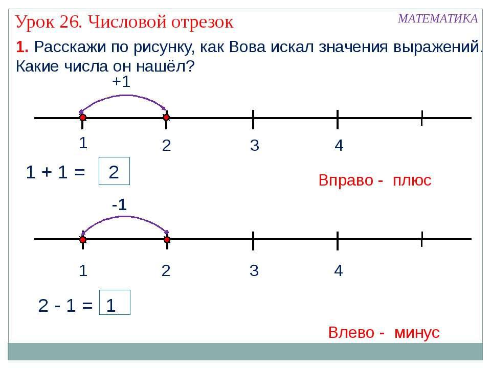 1. Расскажи по рисунку, как Вова искал значения выражений. Какие числа он наш...