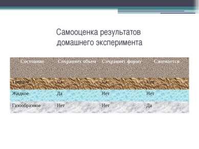 Самооценка результатов домашнего эксперимента Состояние Сохраняет объем Сохра...