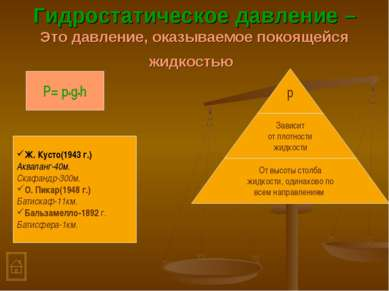 Гидростатическое давление –Это давление, оказываемое покоящейся жидкостью P= ...