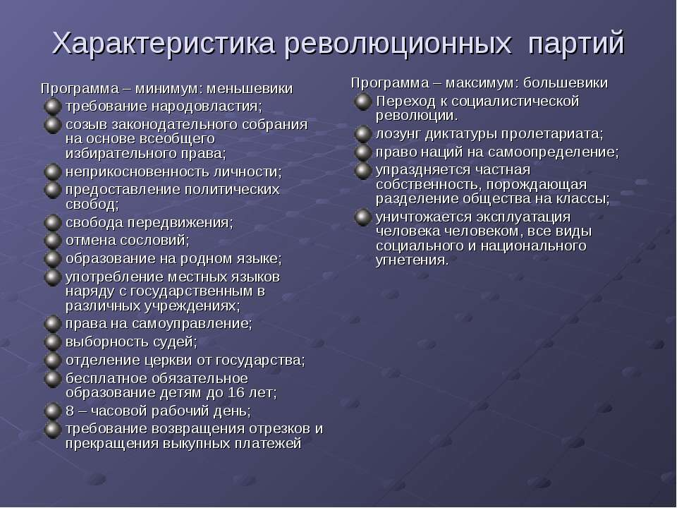 Характеристика революционных партий Программа – минимум: меньшевики требовани...