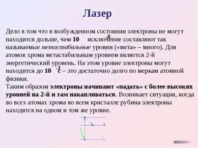 Лазер Дело в том что в возбужденном состоянии электроны не могут находится до...