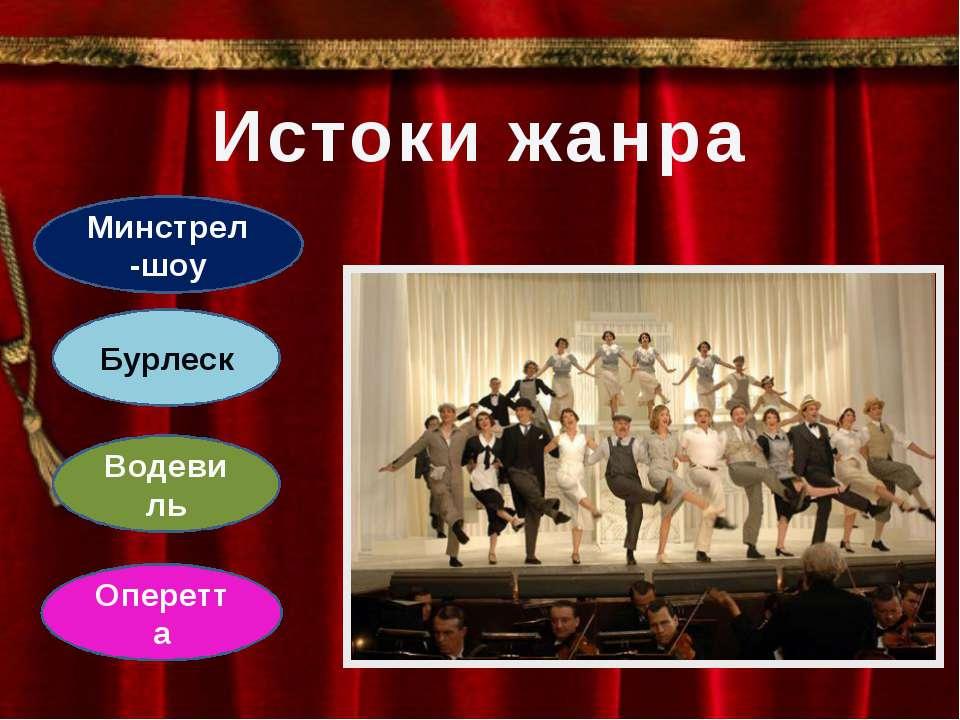 Истоки жанра Минстрел-шоу Водевиль Оперетта Бурлеск