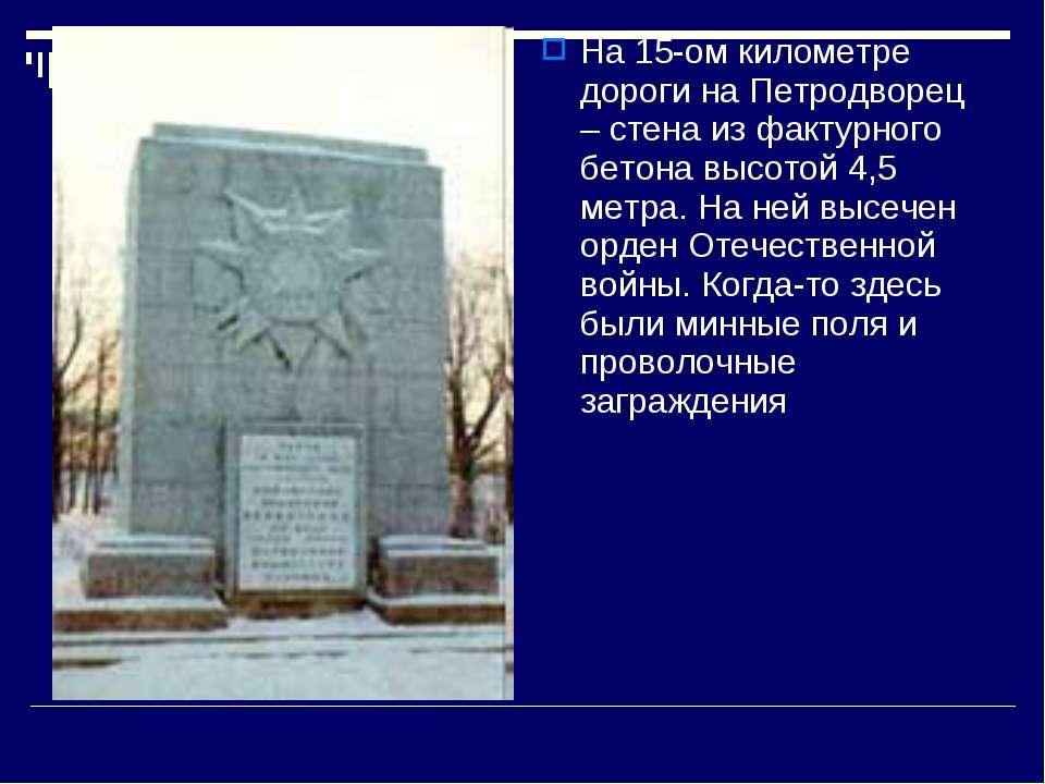 На 15-ом километре дороги на Петродворец – стена из фактурного бетона высотой...