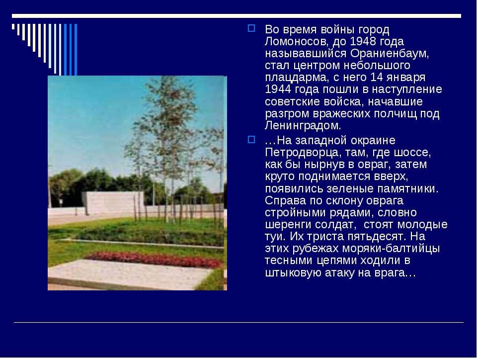 Во время войны город Ломоносов, до 1948 года называвшийся Ораниенбаум, стал ц...