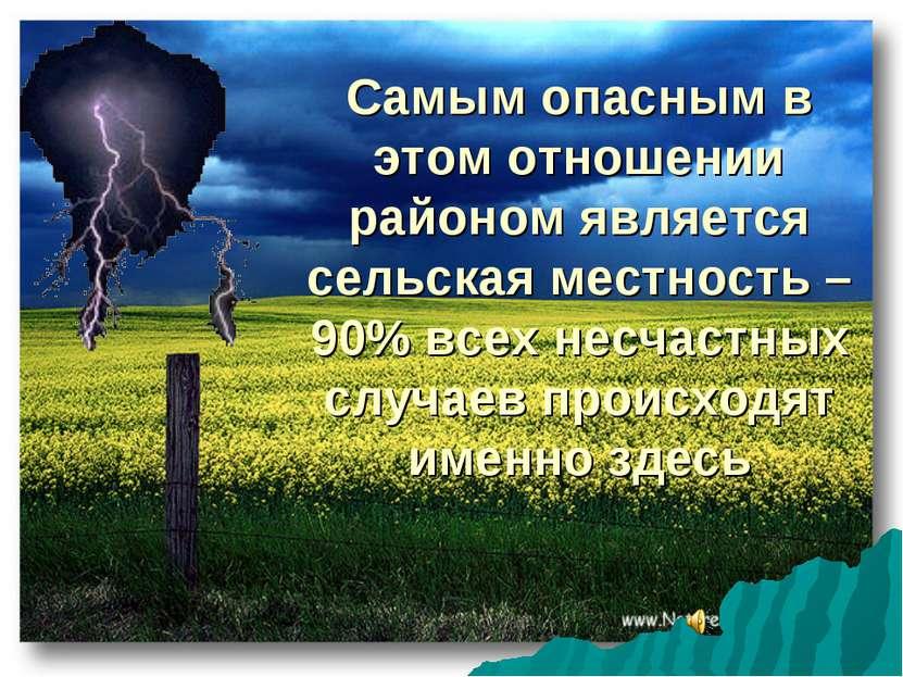 Самым опасным в этом отношении районом является сельская местность – 90% всех...