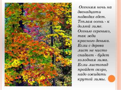 Осенняя ночь на двенадцати подводах едет. Теплая осень - к долгой зиме. Осень...