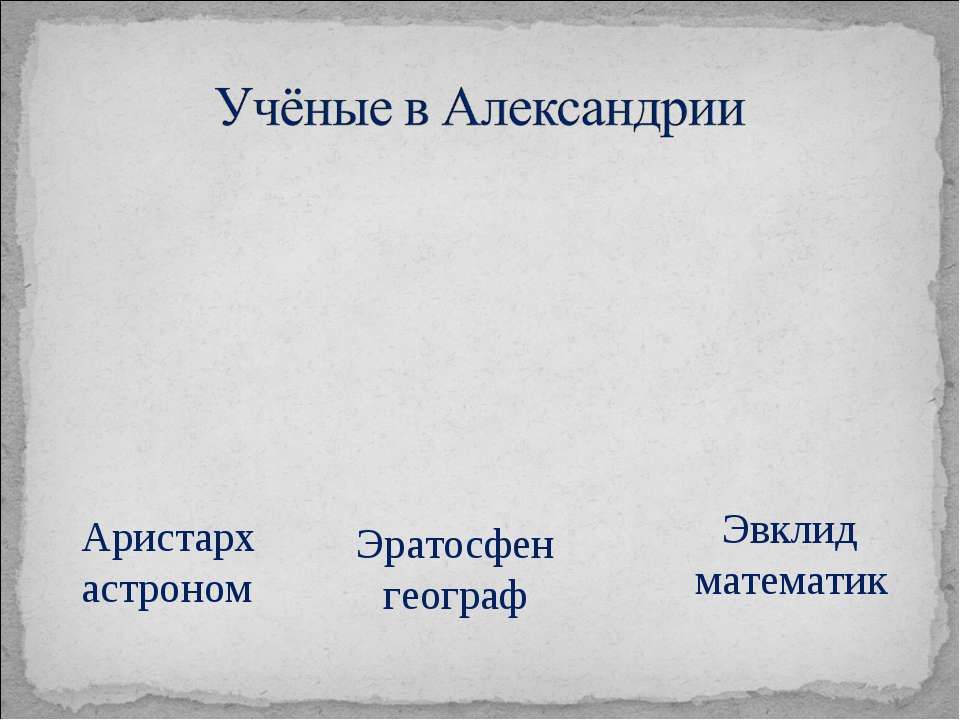 Аристарх астроном Эратосфен географ Эвклид математик