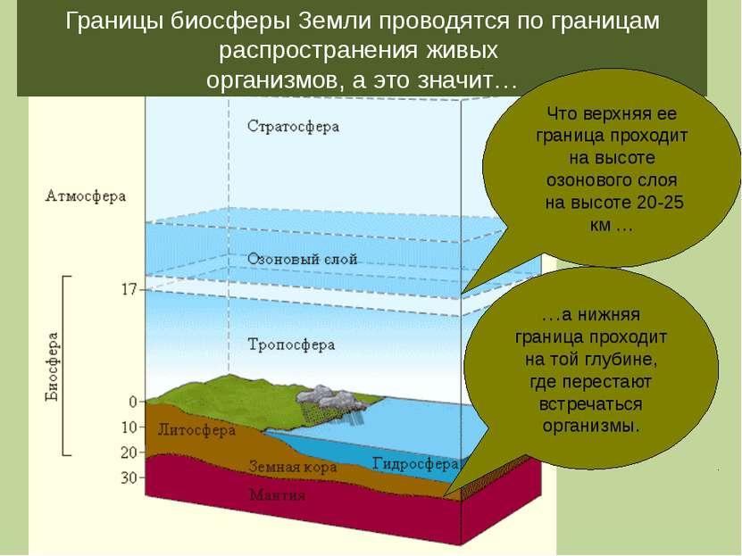 Границы биосферы Земли проводятся по границам распространения живых организмо...