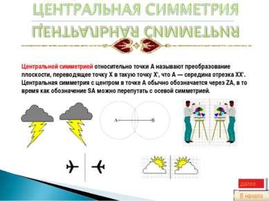 Центральной симметрией относительно точки A называют преобразование плоскости...