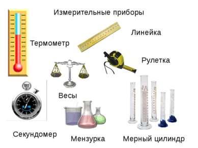 Измерительные приборы Термометр Линейка Рулетка Секундомер Весы Мензурка Мерн...