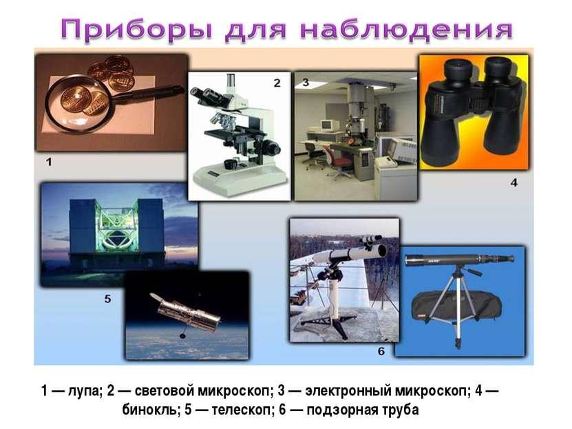 1 — лупа; 2 — световой микроскоп; 3 — электронный микроскоп; 4 — бинокль; 5 —...