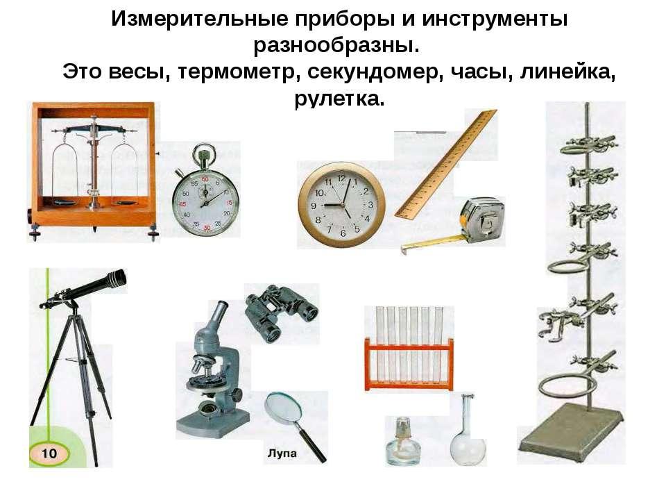 Измерительные приборы и инструменты разнообразны. Это весы, термометр, секунд...