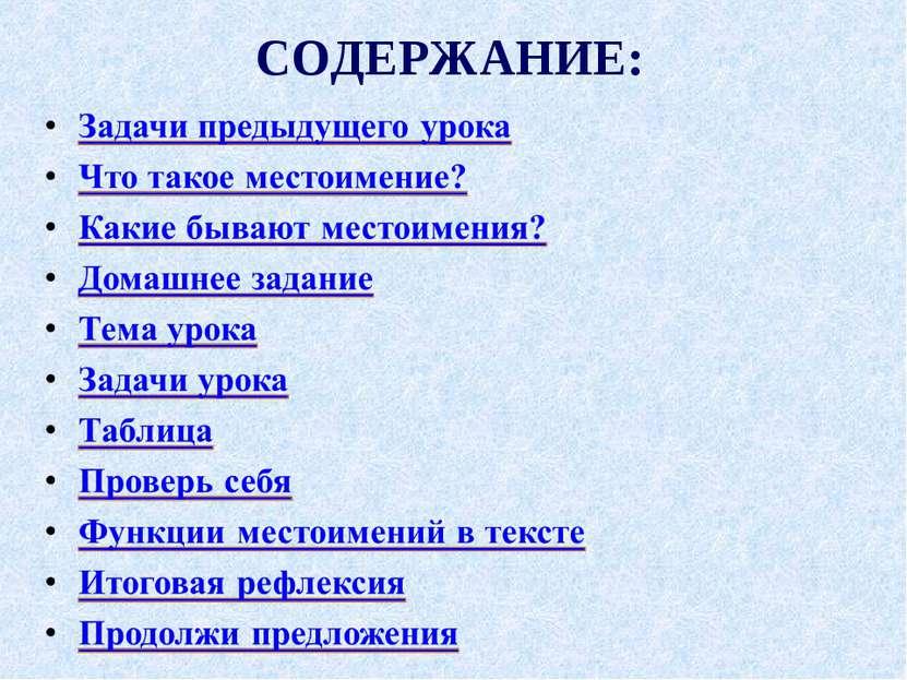 СОДЕРЖАНИЕ: