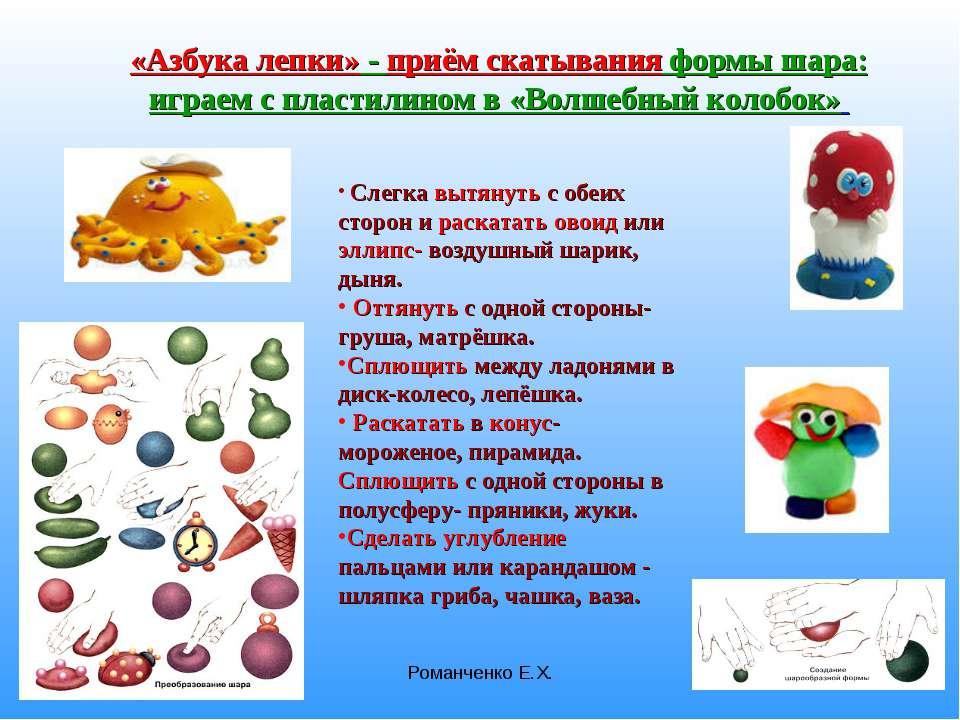 Романченко Е.Х. «Азбука лепки» - приём скатывания формы шара: играем с пласти...