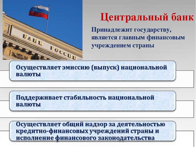 Центральный банк Принадлежит государству, является главным финансовым учрежде...