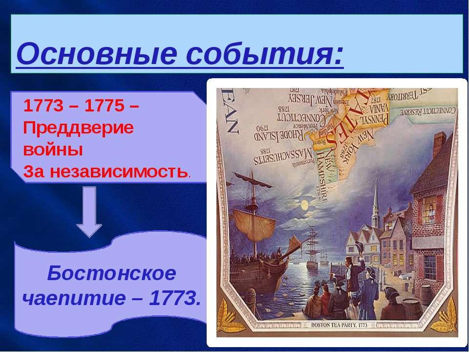 Основные события: 1773 – 1775 – Преддверие войны За независимость. Бостонское...