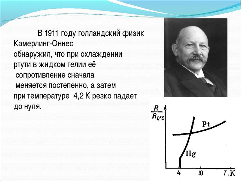 В1911 годуголландский физик Камерлинг-Оннес обнаружил, что при охлаждении ...