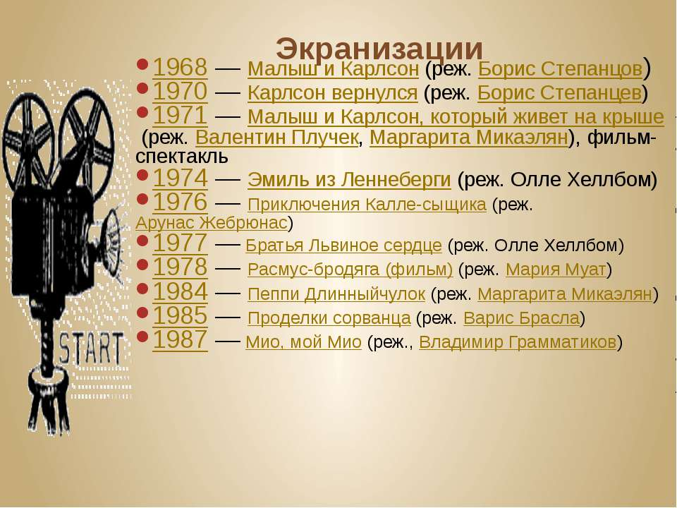 Экранизации 1968—Малыш и Карлсон(реж.Борис Степанцов) 1970—Карлсон верн...