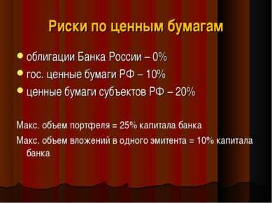Риски по ценным бумагам облигации Банка России – 0% гос. ценные бумаги РФ – 1...