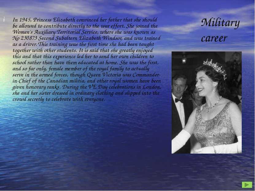 In 1945, Princess Elizabeth convinced her father that she should be allowed t...