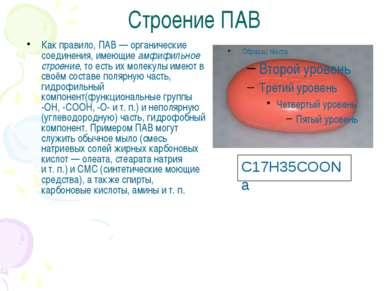 Строение ПАВ Как правило, ПАВ— органические соединения, имеющие амфифильное ...