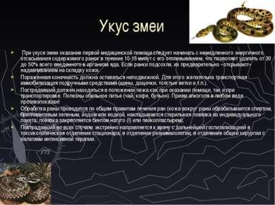 Укус змеи При укусе змеи оказание первой медицинской помощи следует начинать ...