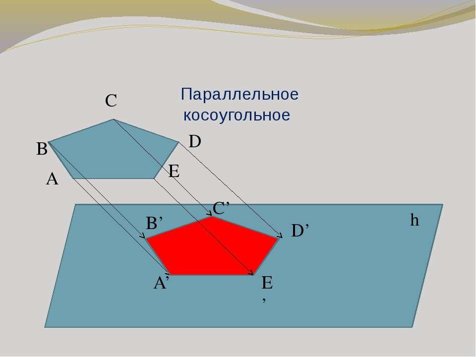 Параллельное косоугольное h A B C D E A' B' E' D' C'