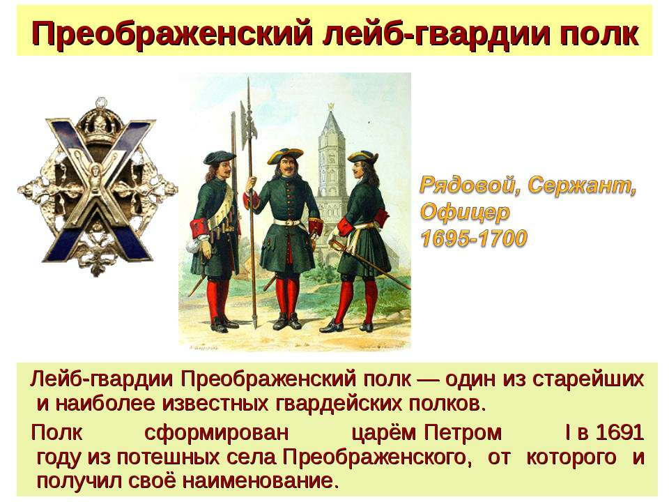 Преображенский лейб-гвардии полк Лейб-гвардии Преображенский полк—один из с...