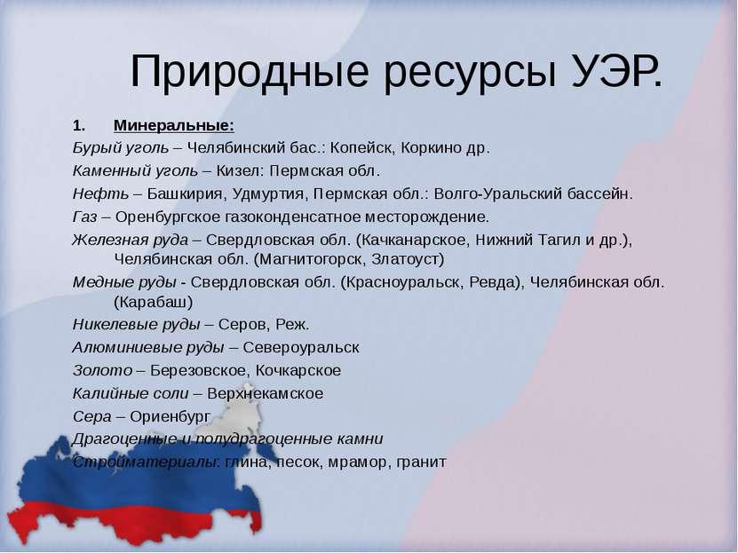 Природные ресурсы УЭР. Минеральные: Бурый уголь – Челябинский бас.: Копейск, ...